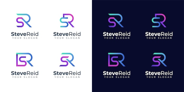 Monogram sr logo design