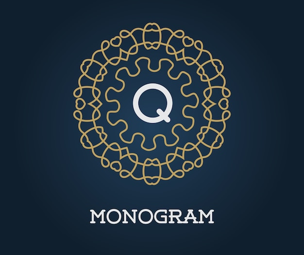 Monogram with letter q