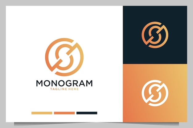 Monogram with letter s logo design