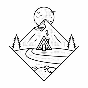Винтажный дизайн значка monoline adventure premium векторы