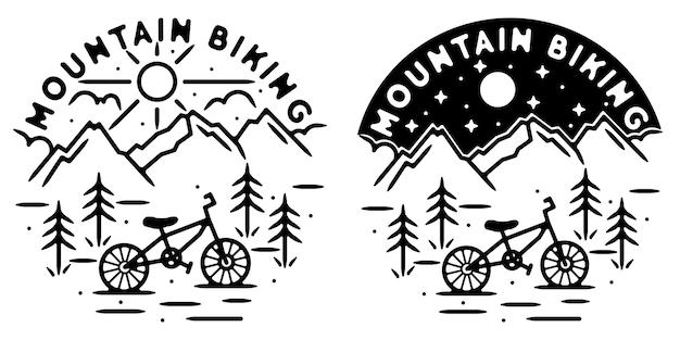 Monoline adventure vintage outdoor badge design