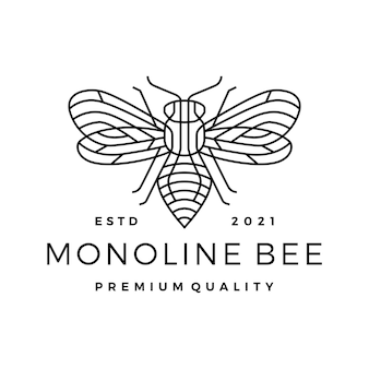 Monoline bee line outline line art logo