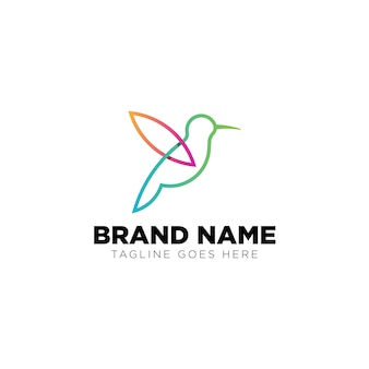 Monoline bird logo inspiration technology