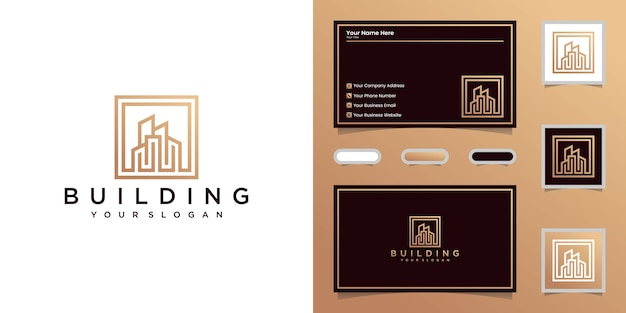 Monoline building logo and business card inspiration