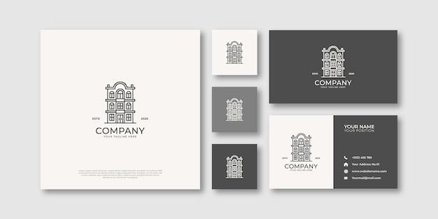 Монолайн здание логотип недвижимости и визитная карточка
