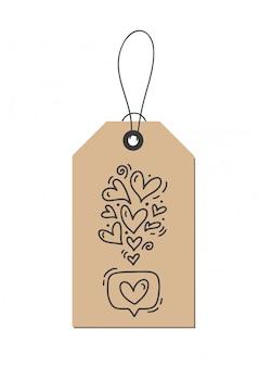 Monoline calligraphy flourish hearts like about love on kraft tag