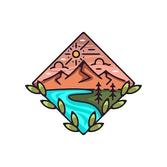 Monoline 디자인 빈티지 ourdoor 산과 해변