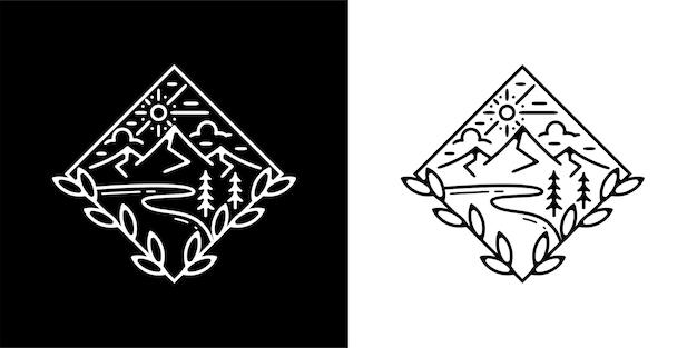 Монолинии винтажный дизайн на открытом воздухе с горами и пляжем