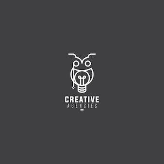モノリンエレガントでユニークで芸術的なフクロウのロゴ