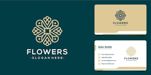 Monoline flower luxury logo and business card