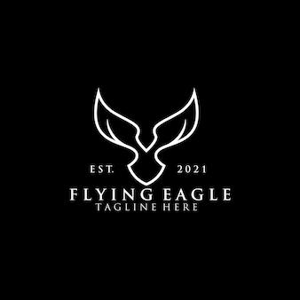 Monoline flying eagle logo concept