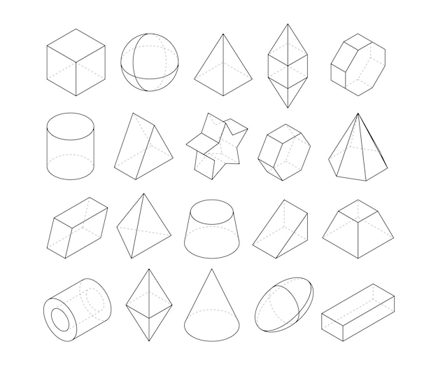 Monoline illustrations. frames of different geometry shapes. linear geometry figure polygon, octahedron and pyramid,  geometric cone and sphere
