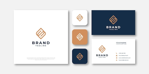 Monoline letter s logo and business card