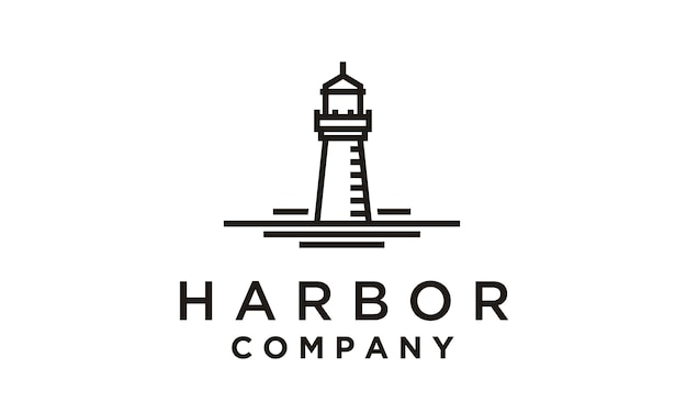 Monoline lighthouse / searchlight logo design