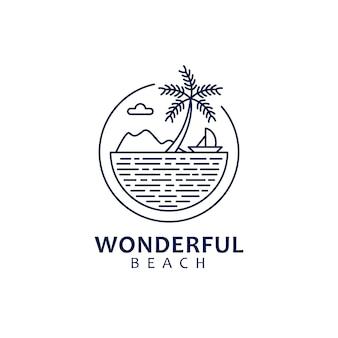 自然をテーマにしたビーチの景色を備えたモノラインのロゴデザイン