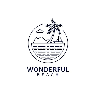 Monoline logo design with nature theme and beach scenery shape