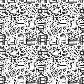 Monoline movie doodle element seamless pattern