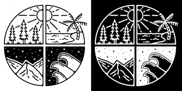 Monoline outdoor badge design adventure