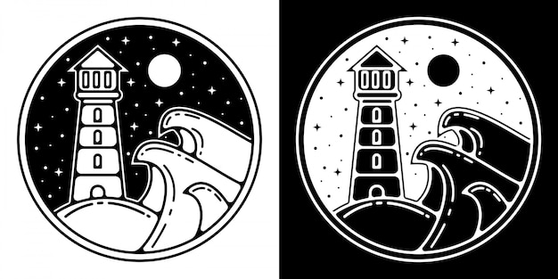 Monoline outdoor badge designthe light house in night