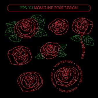 Monoline rose design set on dark background