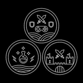 Monoline rpg or roleplay game emblem, badge or icon set