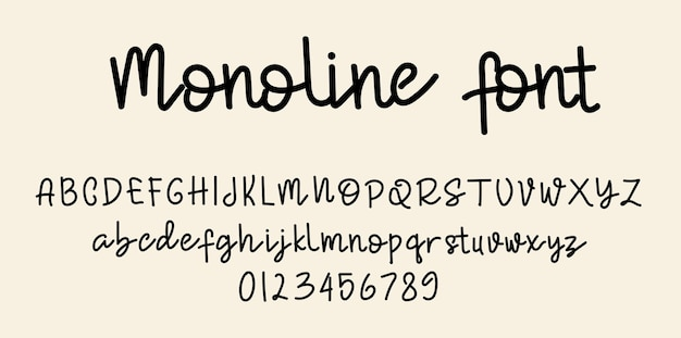 Alfabeto di caratteri di script monoline