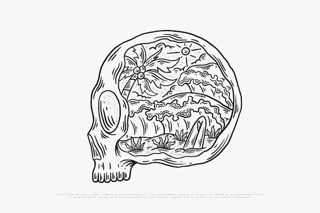 Monoline 두개골과 해변 파도