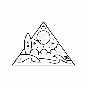 Монолайн серфинг морской винтажный дизайн значка premium векторы