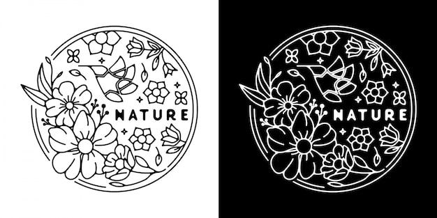 Monoline vintage badge природа