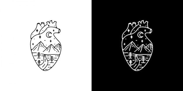 Monoline vintage heart design