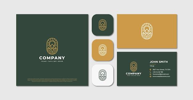 Монолайн винтажный дом логотип и визитная карточка