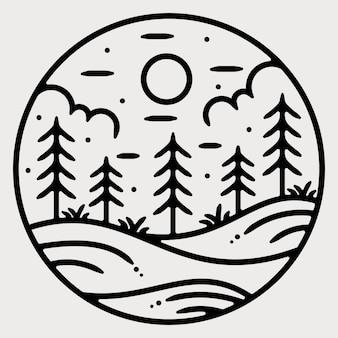 Monoline vintage outdoor badge design