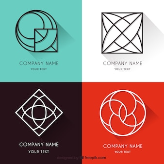 Коллекция логотипов monoline с тенями