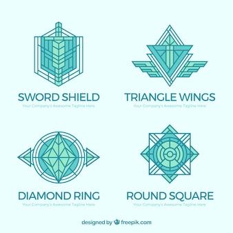 Элегантный синий логотип логотипа monoline