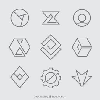 Простые геометрические логотипы monoline