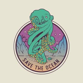 Осьминог спасает океан monoline иллюстрация