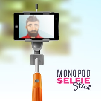 Monopod selfie illustration