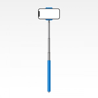 Monopod selfie stick with phone, smartphone.
