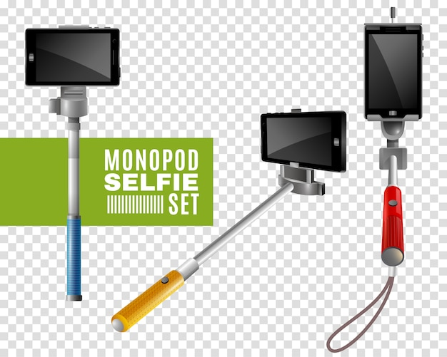 Monopod selfie transparent set