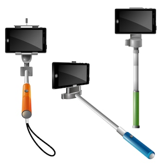 Monopods with pnones for selfie
