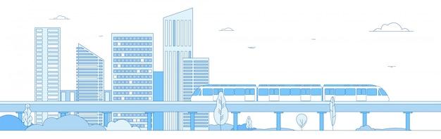Monorail metro train in megapolis