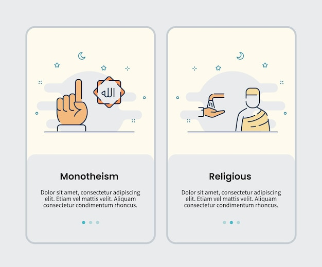 Monotheism and religious icons onboarding template for mobile ui user interface app application design vector illustration