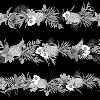 Monotone black and grey tropical exotic forest with blooming summer flowers