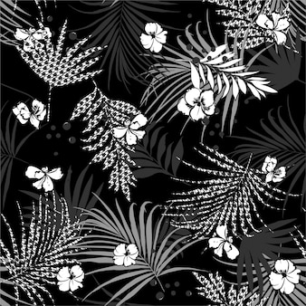 Monotone black and white tropical seamless pattern