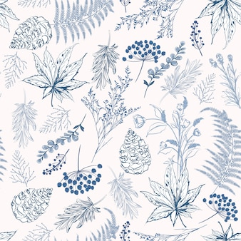 Monotone blue color seamless pattern vector illustrations