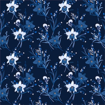 Monotone in blue of floral seamless pattern with orchids. hand drawn vector illustration