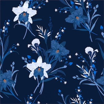 Monotone in blue of floral seamless pattern