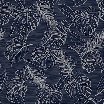 Monotone blue floral and tropical leaves seamless pattern