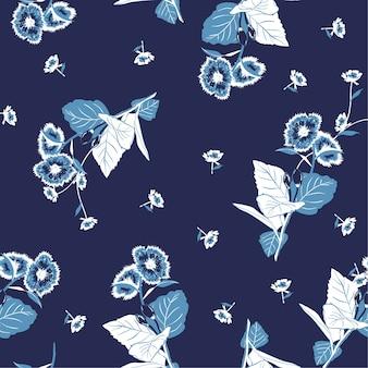 Monotone blue garden flower