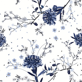 Monotone blue seamless pattern vector